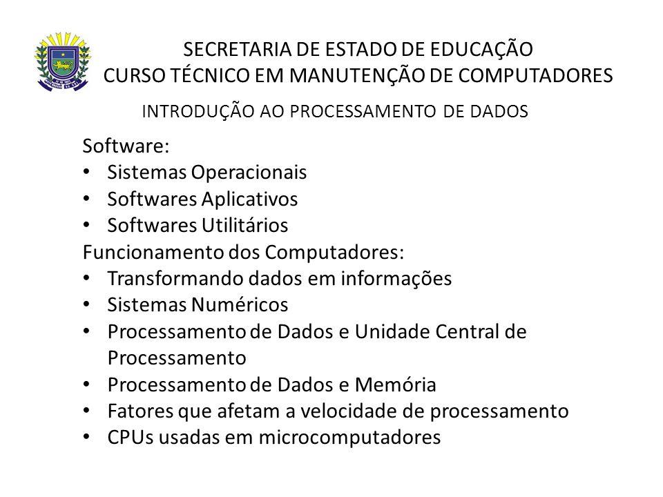 SECRETARIA DE ESTADO DE EDUCAÇÃO CURSO TÉCNICO EM MANUTENÇÃO DE COMPUTADORES Software: Sistemas Operacionais Softwares Aplicativos Softwares Utilitári