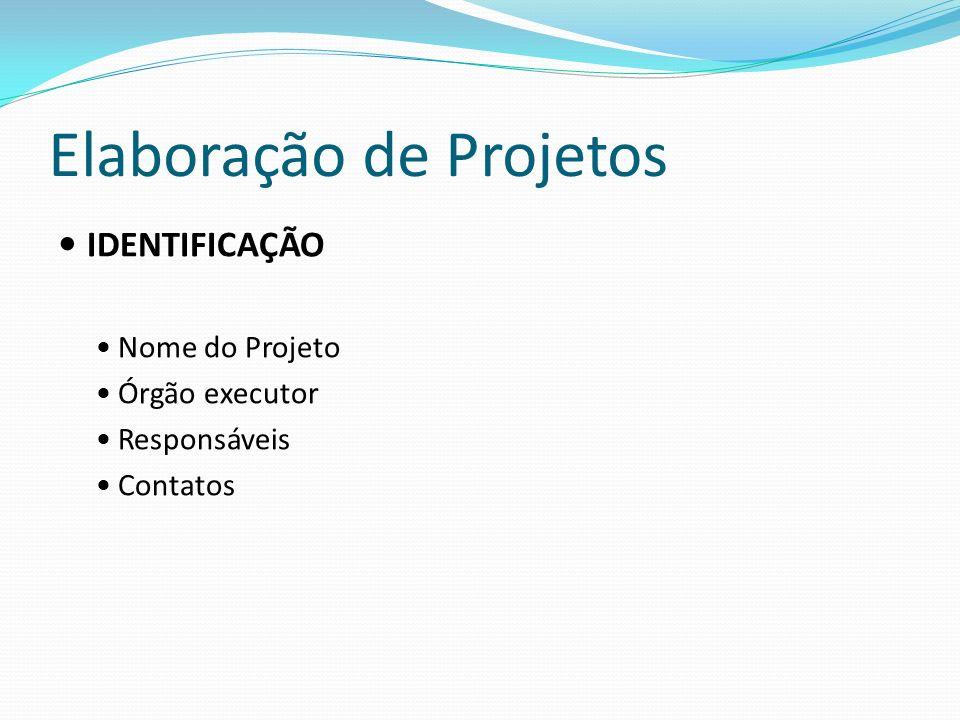 Elaboração de Projetos IDENTIFICAÇÃO Nome do Projeto Órgão executor Responsáveis Contatos