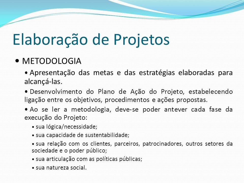 Elaboração de Projetos METODOLOGIA Apresentação das metas e das estratégias elaboradas para alcançá-las. Desenvolvimento do Plano de Ação do Projeto,