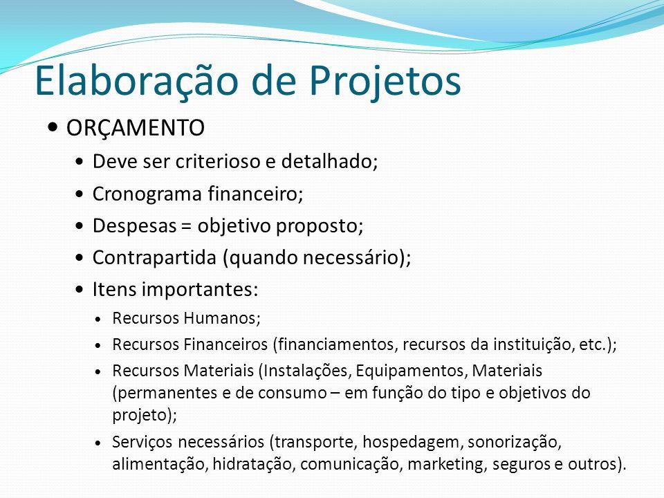 Elaboração de Projetos ORÇAMENTO Deve ser criterioso e detalhado; Cronograma financeiro; Despesas = objetivo proposto; Contrapartida (quando necessári