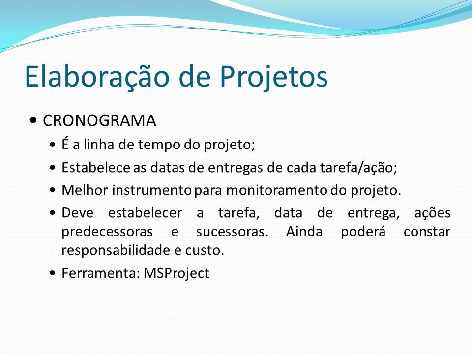 Elaboração de Projetos CRONOGRAMA É a linha de tempo do projeto; Estabelece as datas de entregas de cada tarefa/ação; Melhor instrumento para monitoramento do projeto.