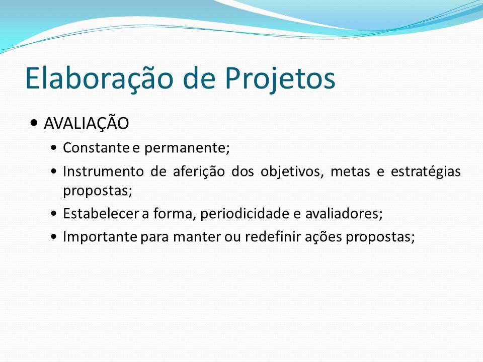 Elaboração de Projetos AVALIAÇÃO Constante e permanente; Instrumento de aferição dos objetivos, metas e estratégias propostas; Estabelecer a forma, periodicidade e avaliadores; Importante para manter ou redefinir ações propostas;