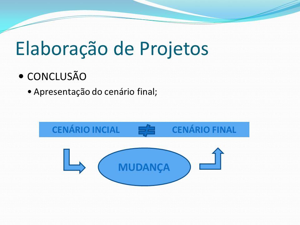 Elaboração de Projetos CONCLUSÃO Apresentação do cenário final; CENÁRIO INCIALCENÁRIO FINAL MUDANÇA