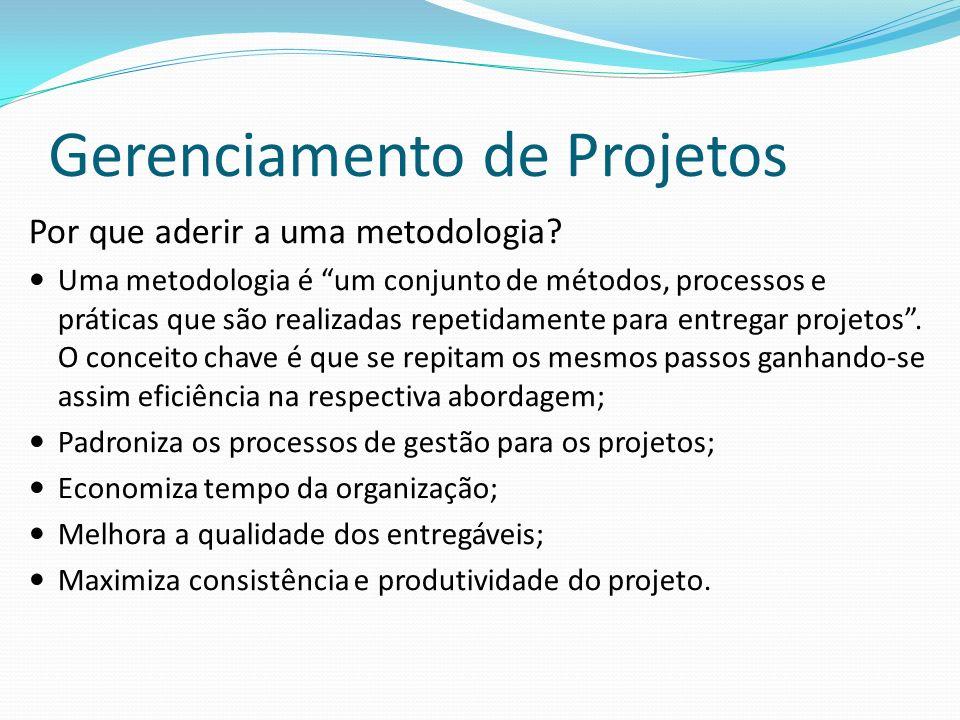 Gerenciamento de Projetos Por que aderir a uma metodologia? Uma metodologia é um conjunto de métodos, processos e práticas que são realizadas repetida