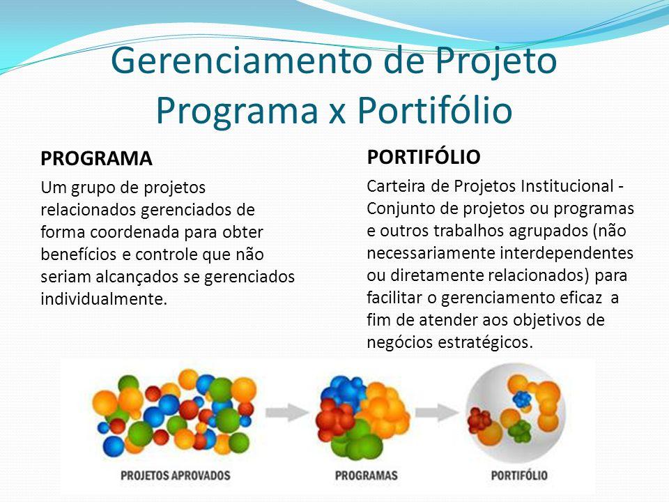 Gerenciamento de Projeto Programa x Portifólio PROGRAMA Um grupo de projetos relacionados gerenciados de forma coordenada para obter benefícios e controle que não seriam alcançados se gerenciados individualmente.