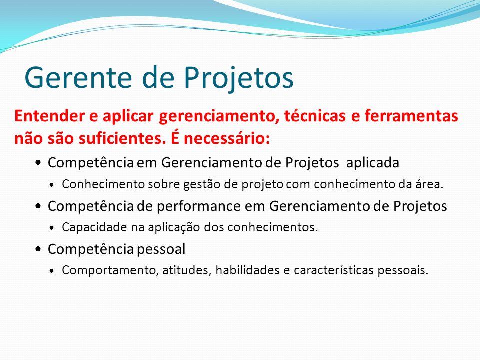 Gerente de Projetos Entender e aplicar gerenciamento, técnicas e ferramentas não são suficientes.
