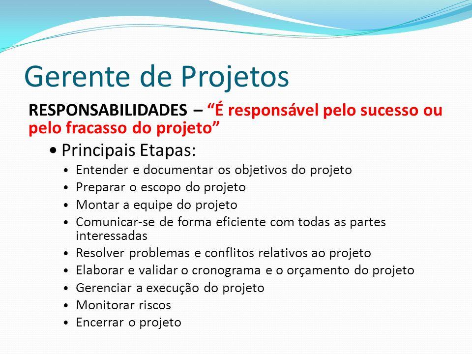 Gerente de Projetos RESPONSABILIDADES – É responsável pelo sucesso ou pelo fracasso do projeto Principais Etapas: Entender e documentar os objetivos d