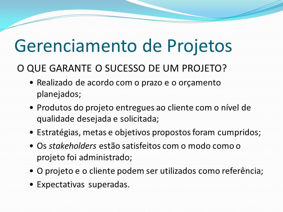 Gerenciamento de Projetos O QUE GARANTE O SUCESSO DE UM PROJETO.