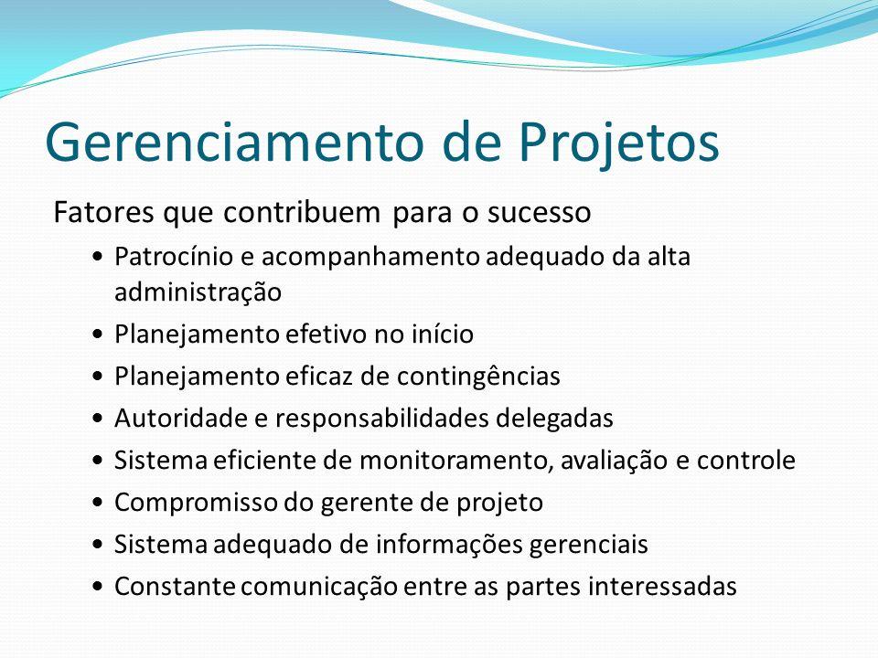 Gerenciamento de Projetos Fatores que contribuem para o sucesso Patrocínio e acompanhamento adequado da alta administração Planejamento efetivo no iní