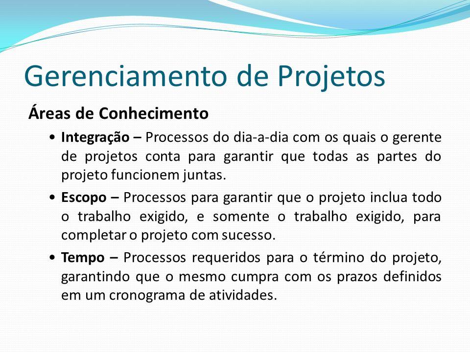 Gerenciamento de Projetos Áreas de Conhecimento Integração – Processos do dia-a-dia com os quais o gerente de projetos conta para garantir que todas as partes do projeto funcionem juntas.