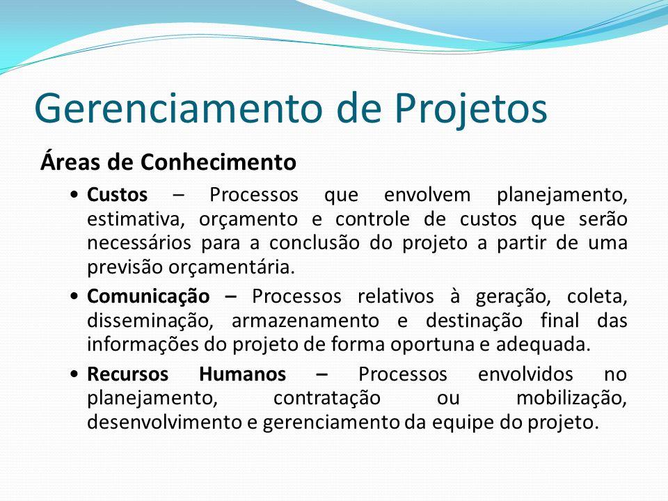 Gerenciamento de Projetos Áreas de Conhecimento Custos – Processos que envolvem planejamento, estimativa, orçamento e controle de custos que serão necessários para a conclusão do projeto a partir de uma previsão orçamentária.