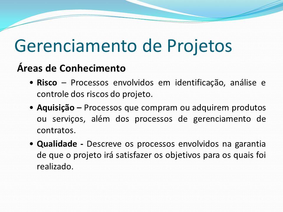 Gerenciamento de Projetos Áreas de Conhecimento Risco – Processos envolvidos em identificação, análise e controle dos riscos do projeto.