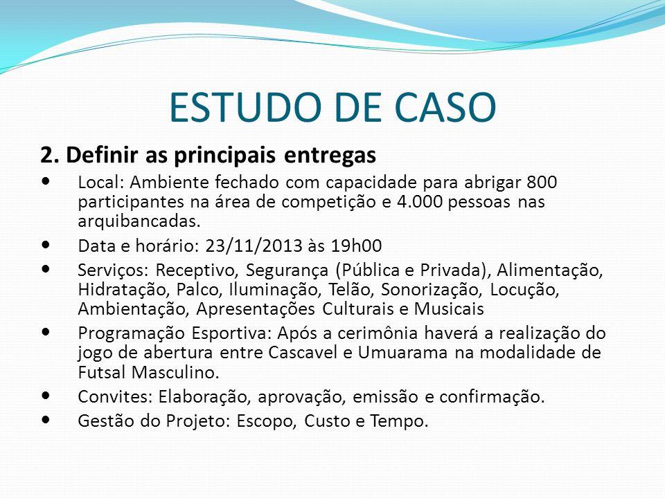 ESTUDO DE CASO 2. Definir as principais entregas Local: Ambiente fechado com capacidade para abrigar 800 participantes na área de competição e 4.000 p