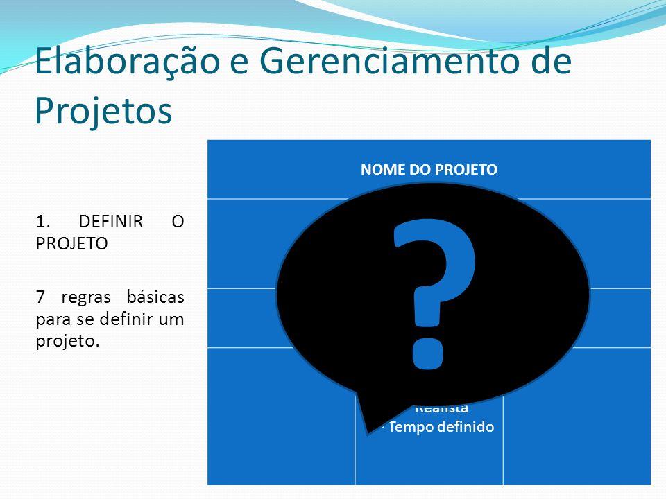 Elaboração e Gerenciamento de Projetos 1.