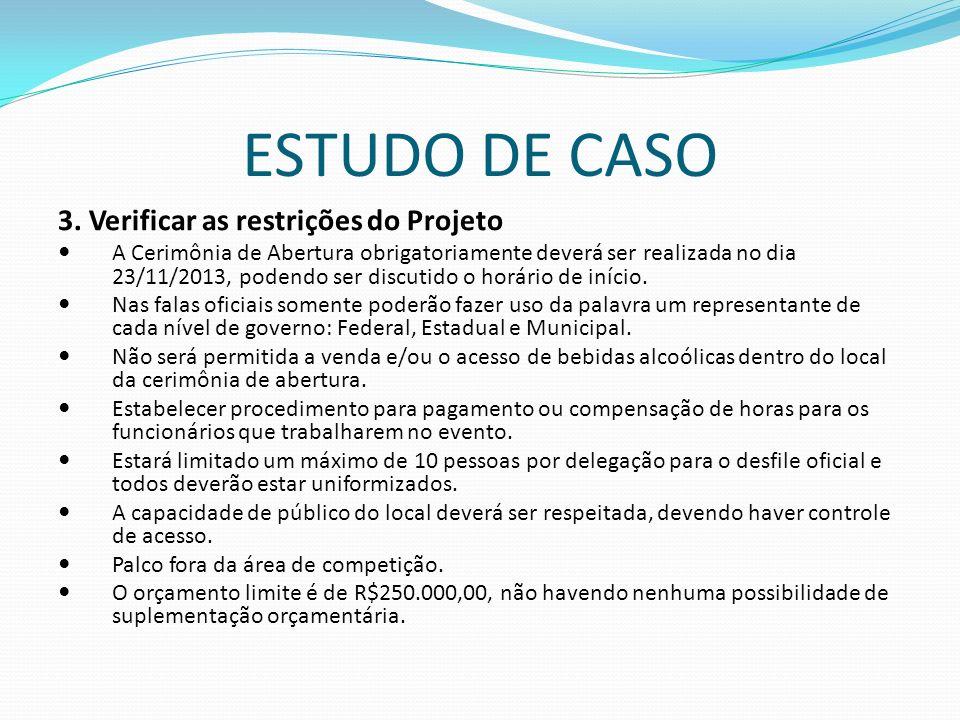 ESTUDO DE CASO 3. Verificar as restrições do Projeto A Cerimônia de Abertura obrigatoriamente deverá ser realizada no dia 23/11/2013, podendo ser disc