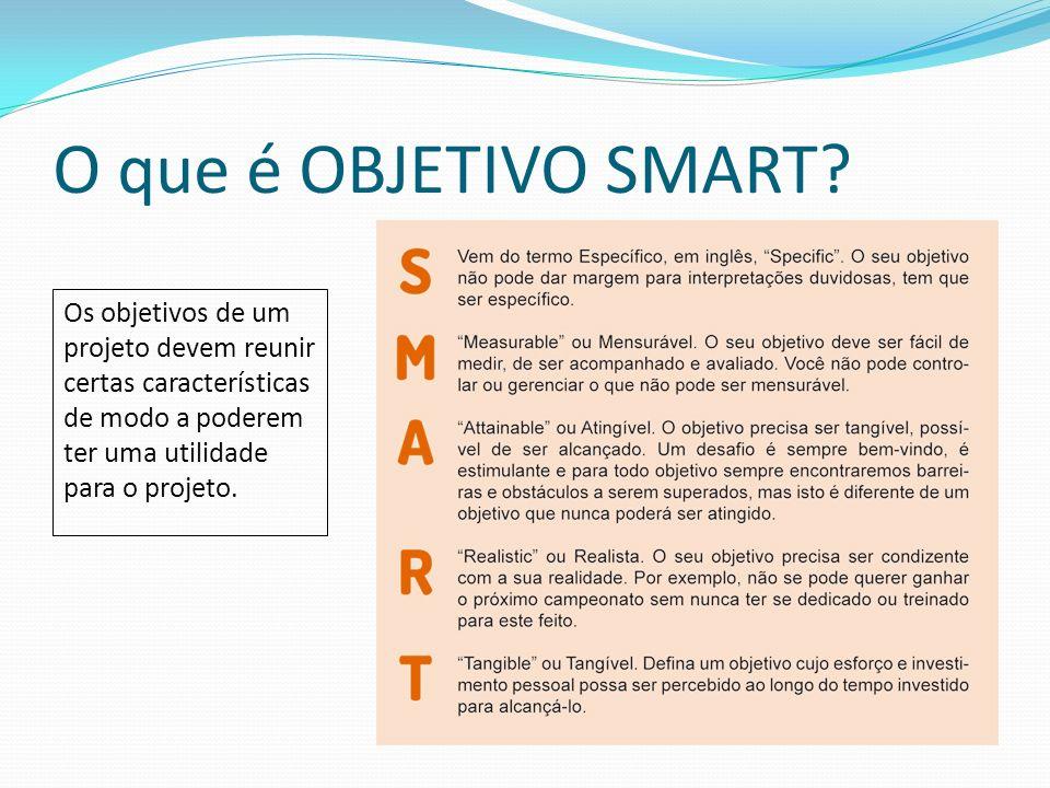 O que é OBJETIVO SMART? Os objetivos de um projeto devem reunir certas características de modo a poderem ter uma utilidade para o projeto.