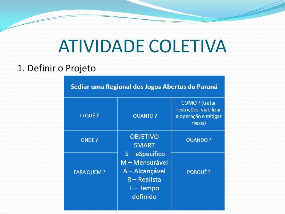 ATIVIDADE COLETIVA 1. Definir o Projeto Sediar uma Regional dos Jogos Abertos do Paraná OBJETIVO SMART S – eSpecífico M – Mensurável A – Alcançável R