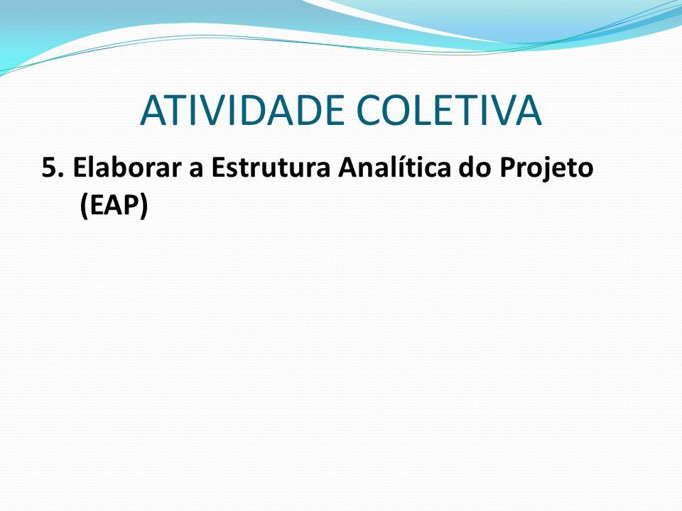 5. Elaborar a Estrutura Analítica do Projeto (EAP)