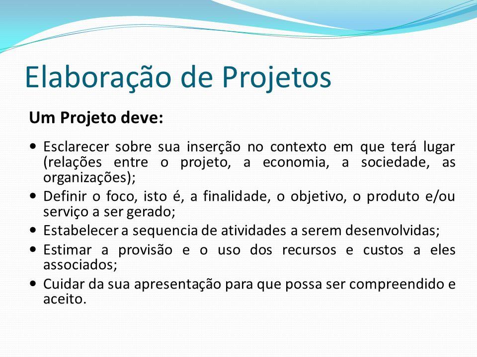 Elaboração de Projetos Um Projeto deve: Esclarecer sobre sua inserção no contexto em que terá lugar (relações entre o projeto, a economia, a sociedade