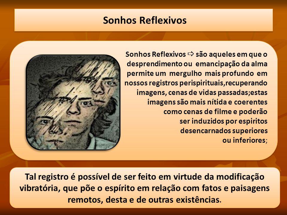 Sonhos Reflexivos Tal registro é possível de ser feito em virtude da modificação vibratória, que põe o espírito em relação com fatos e paisagens remot