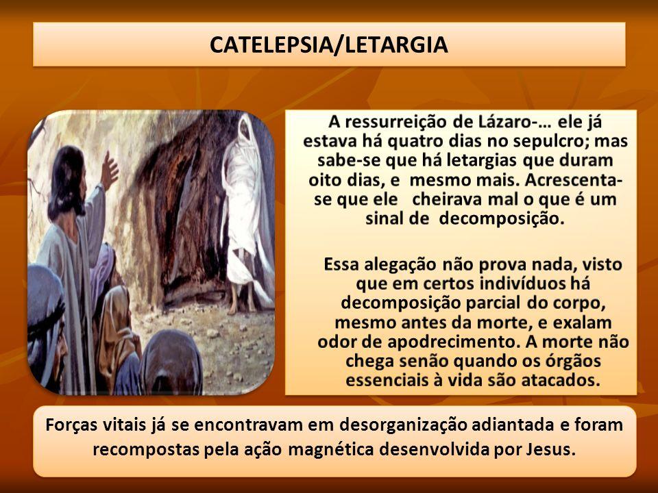 Forças vitais já se encontravam em desorganização adiantada e foram recompostas pela ação magnética desenvolvida por Jesus.
