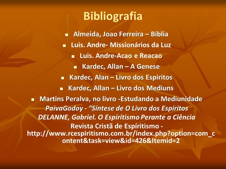 Bibliografia Almeida, Joao Ferreira – Biblia Almeida, Joao Ferreira – Biblia Luis. Andre- Missionários da Luz Luis. Andre-Acao e Reacao Kardec, Allan