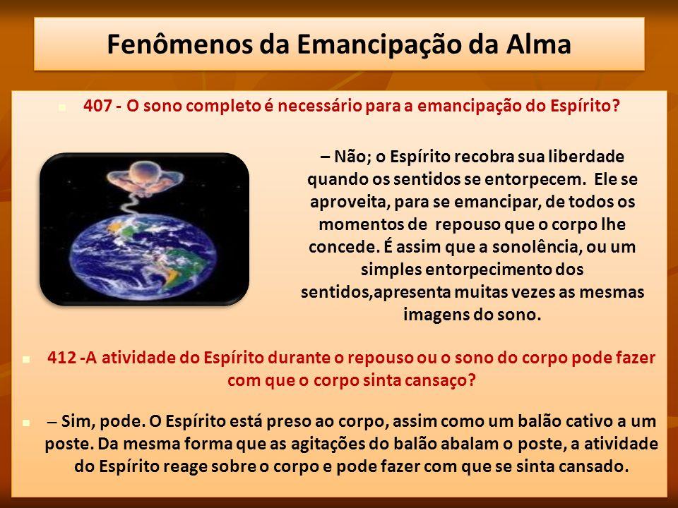Fenômenos da Emancipação da Alma O que caracteriza este estado é que nele o indivíduo, embora dormindo, se movimenta e procede como se estivesse acordado.