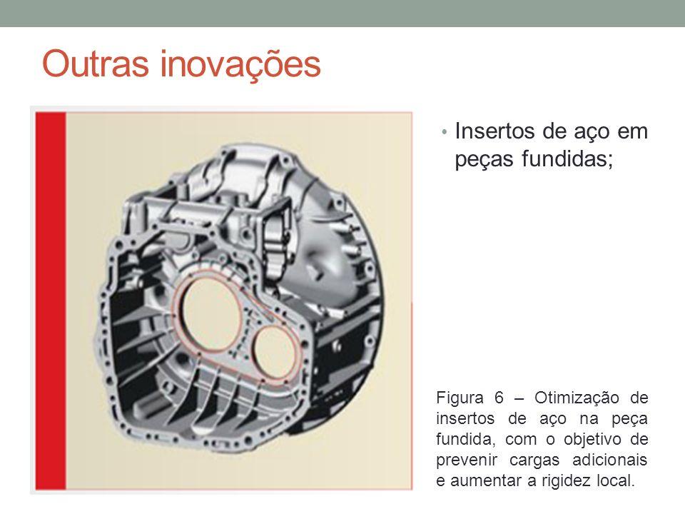 Outras inovações Insertos de aço em peças fundidas; Figura 6 – Otimização de insertos de aço na peça fundida, com o objetivo de prevenir cargas adicio