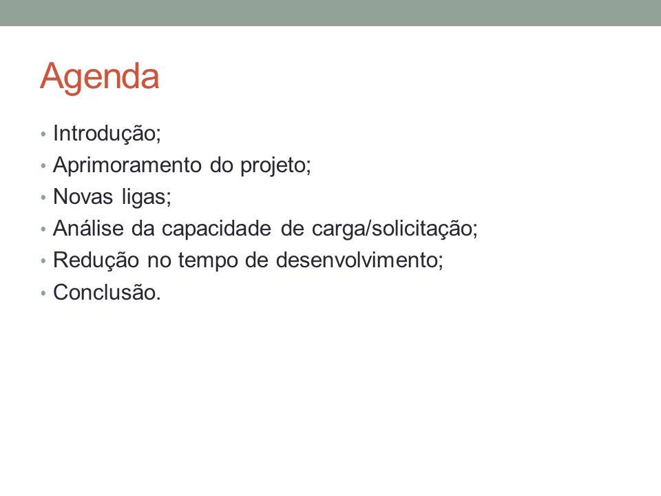 Agenda Introdução; Aprimoramento do projeto; Novas ligas; Análise da capacidade de carga/solicitação; Redução no tempo de desenvolvimento; Conclusão.