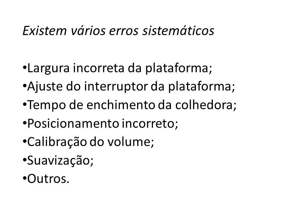 Existem vários erros sistemáticos Largura incorreta da plataforma; Ajuste do interruptor da plataforma; Tempo de enchimento da colhedora; Posicionamen