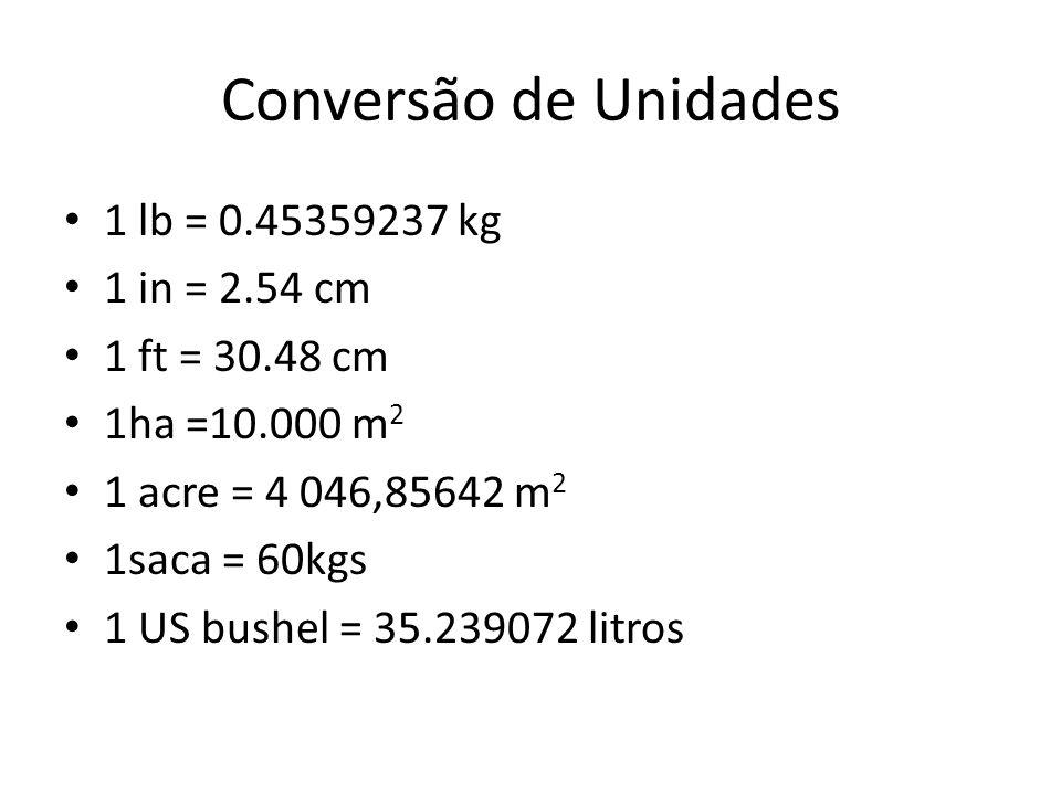 Conversão de Unidades 1 lb = 0.45359237 kg 1 in = 2.54 cm 1 ft = 30.48 cm 1ha =10.000 m 2 1 acre = 4 046,85642 m 2 1saca = 60kgs 1 US bushel = 35.2390