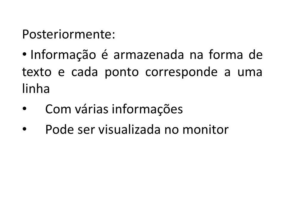 Posteriormente: Informação é armazenada na forma de texto e cada ponto corresponde a uma linha Com várias informações Pode ser visualizada no monitor