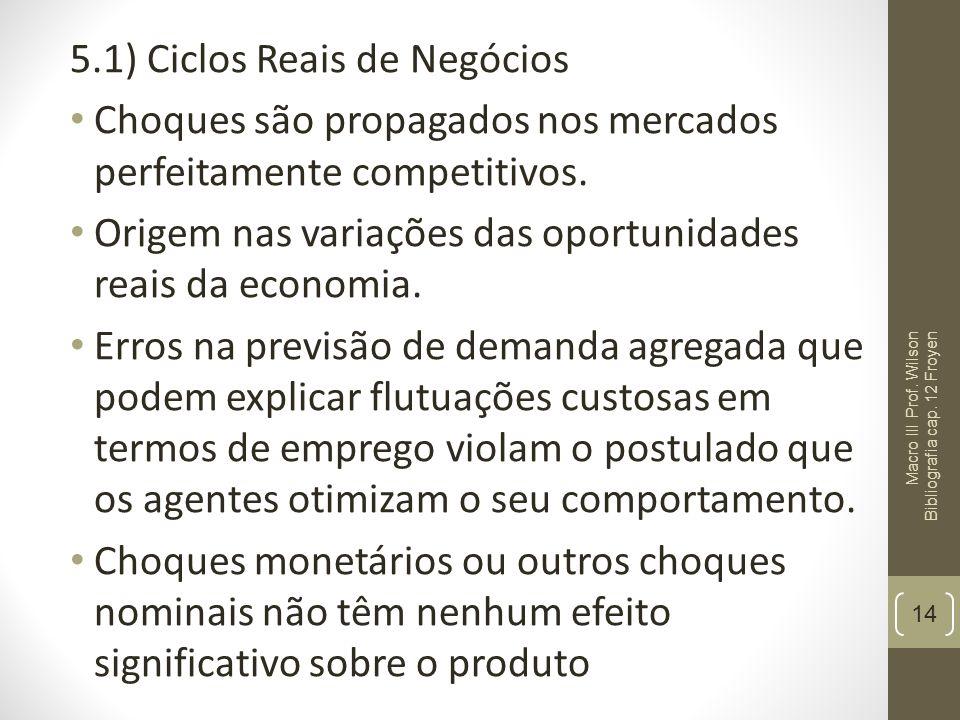 5.1) Ciclos Reais de Negócios Choques são propagados nos mercados perfeitamente competitivos. Origem nas variações das oportunidades reais da economia