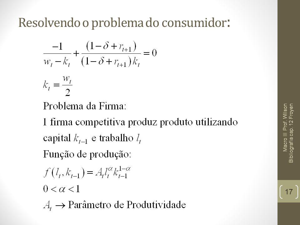 Resolvendo o problema do consumidor : 17 Macro III Prof. Wilson Bibliografia cap. 12 Froyen