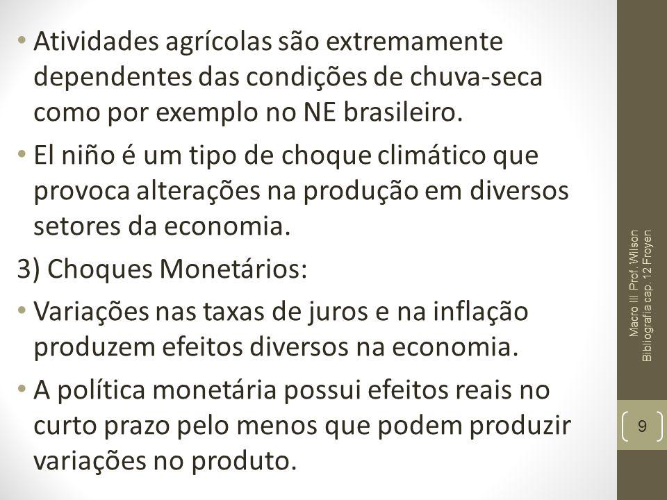 Atividades agrícolas são extremamente dependentes das condições de chuva-seca como por exemplo no NE brasileiro. El niño é um tipo de choque climático