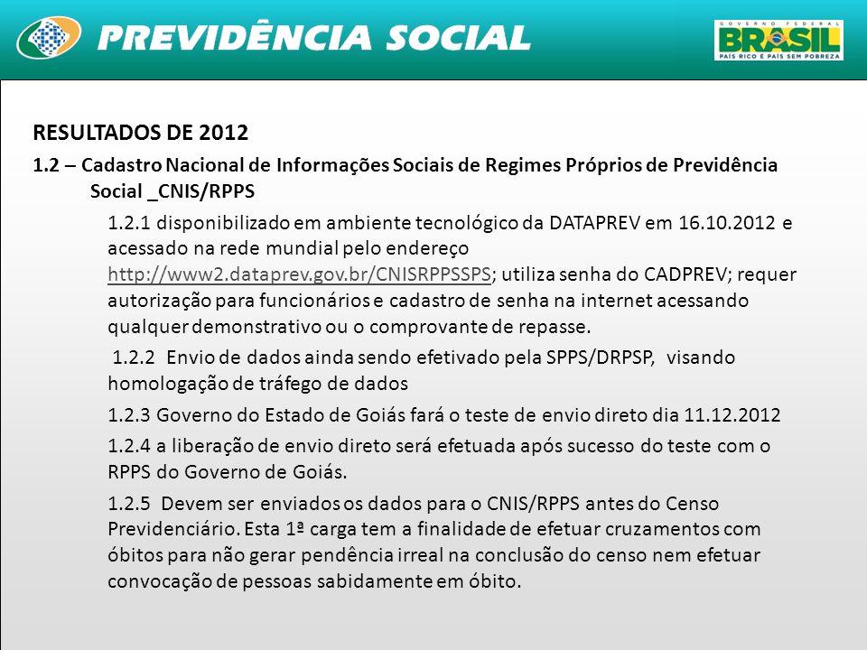 10 RESULTADOS DE 2012 1.2 – Cadastro Nacional de Informações Sociais de Regimes Próprios de Previdência Social _CNIS/RPPS 1.2.1 disponibilizado em amb