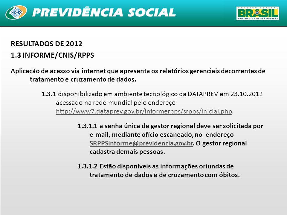 15 RESULTADOS DE 2012 1.3 INFORME/CNIS/RPPS Aplicação de acesso via internet que apresenta os relatórios gerenciais decorrentes de tratamento e cruzam