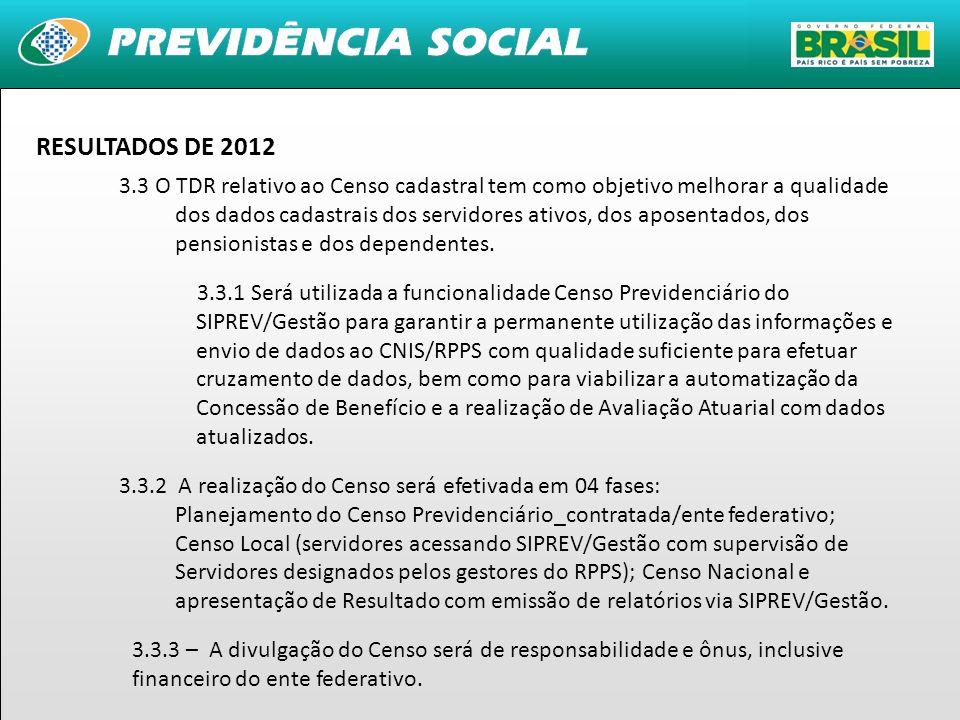 21 RESULTADOS DE 2012 3.3 O TDR relativo ao Censo cadastral tem como objetivo melhorar a qualidade dos dados cadastrais dos servidores ativos, dos apo