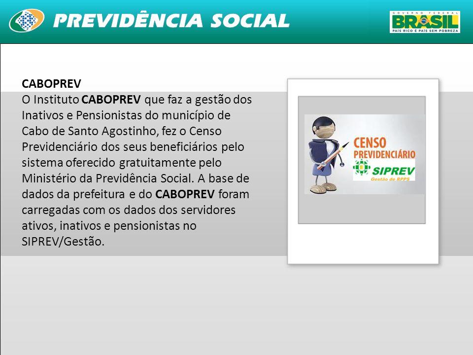 28 CABOPREV O Instituto CABOPREV que faz a gestão dos Inativos e Pensionistas do município de Cabo de Santo Agostinho, fez o Censo Previdenciário dos