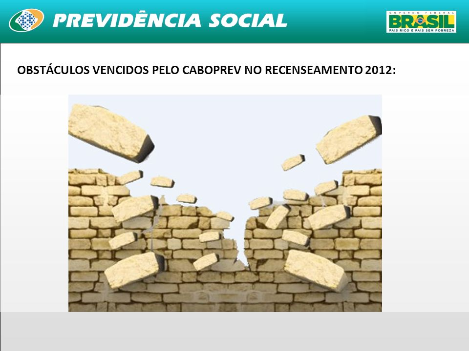 30 OBSTÁCULOS VENCIDOS PELO CABOPREV NO RECENSEAMENTO 2012: