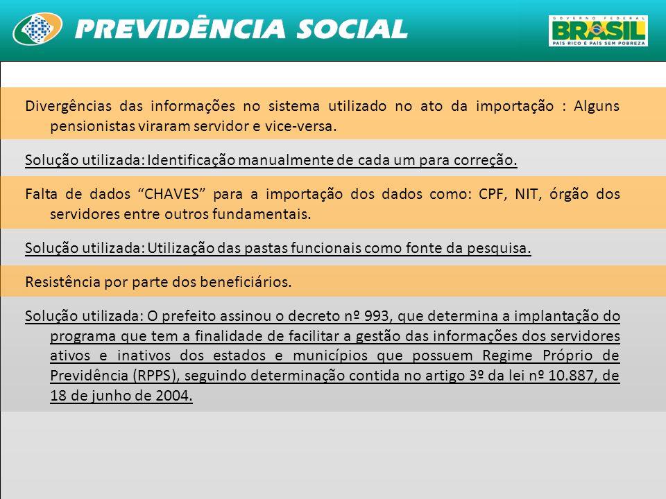 31 Divergências das informações no sistema utilizado no ato da importação : Alguns pensionistas viraram servidor e vice-versa. Solução utilizada: Iden
