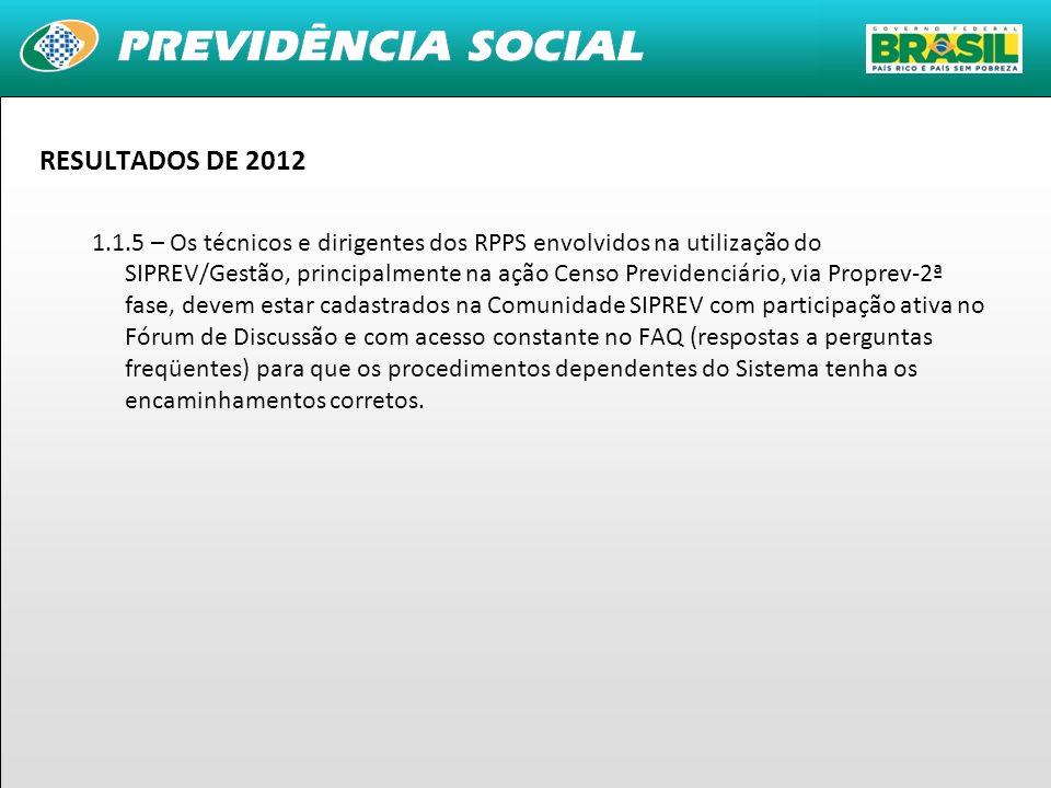 9 RESULTADOS DE 2012 1.1.5 – Os técnicos e dirigentes dos RPPS envolvidos na utilização do SIPREV/Gestão, principalmente na ação Censo Previdenciário,