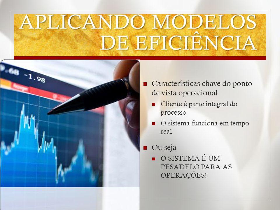 APLICANDO MODELOS DE EFICIÊNCIA Características chave do ponto de vista operacional Cliente é parte integral do processo O sistema funciona em tempo r