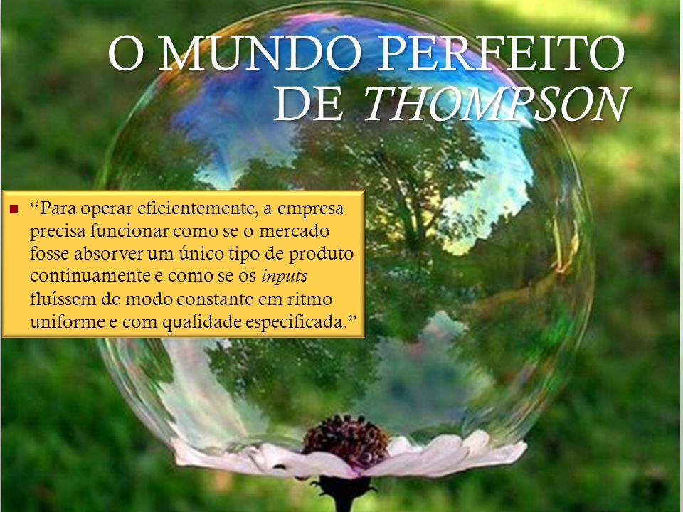 O MUNDO PERFEITO DE THOMPSON Para operar eficientemente, a empresa precisa funcionar como se o mercado fosse absorver um único tipo de produto continu