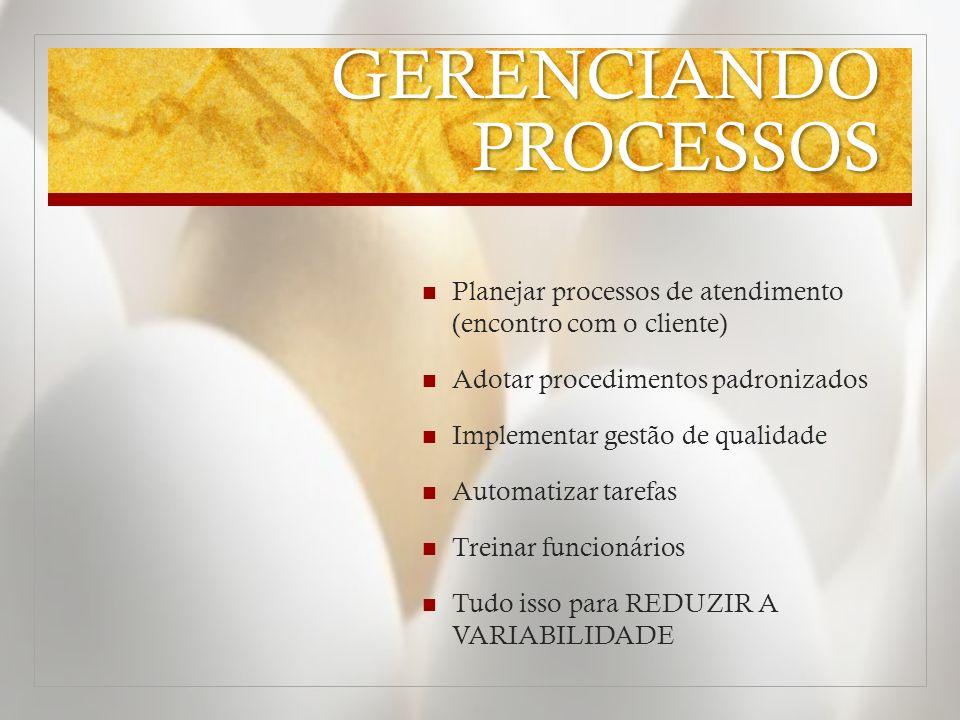 GERENCIANDO PROCESSOS Planejar processos de atendimento (encontro com o cliente) Adotar procedimentos padronizados Implementar gestão de qualidade Aut