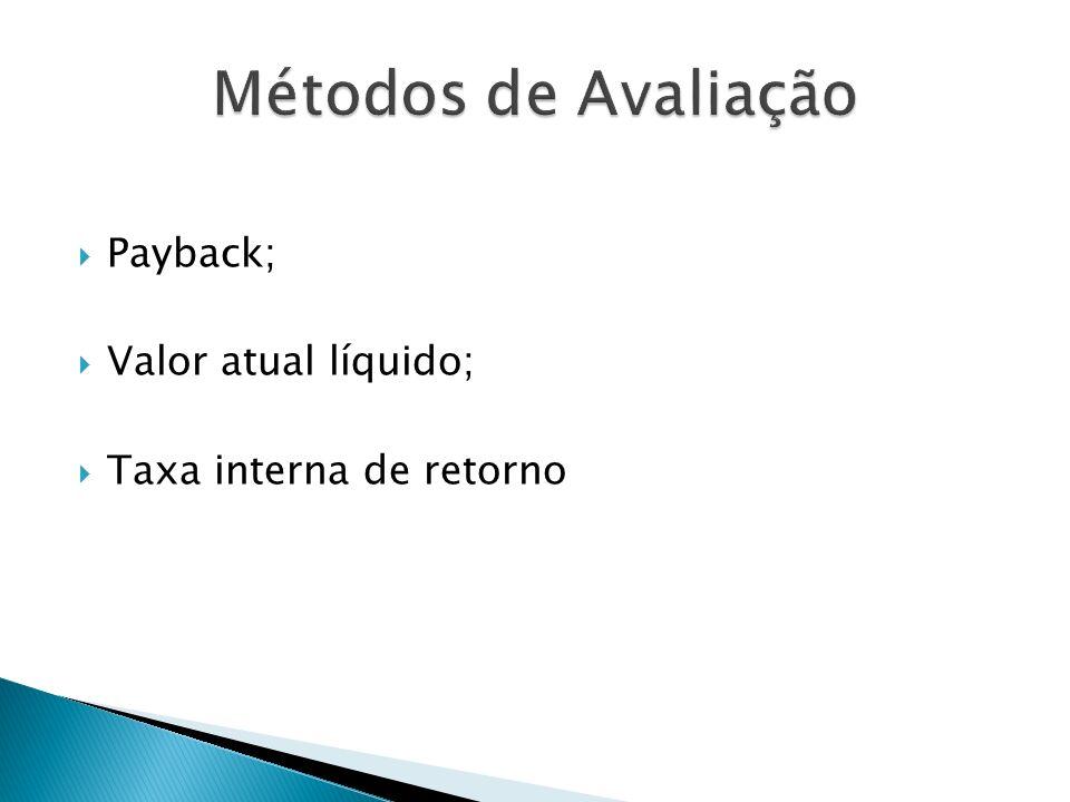 Payback; Valor atual líquido; Taxa interna de retorno