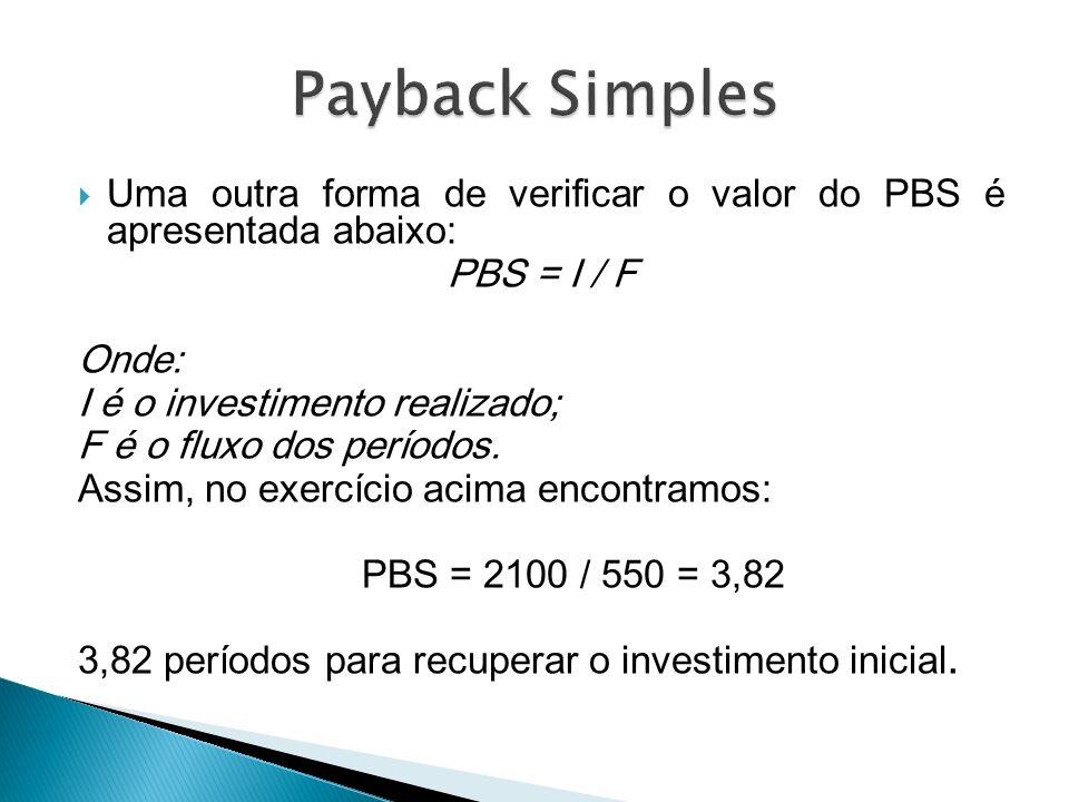 Uma outra forma de verificar o valor do PBS é apresentada abaixo: PBS = I / F Onde: I é o investimento realizado; F é o fluxo dos períodos. Assim, no