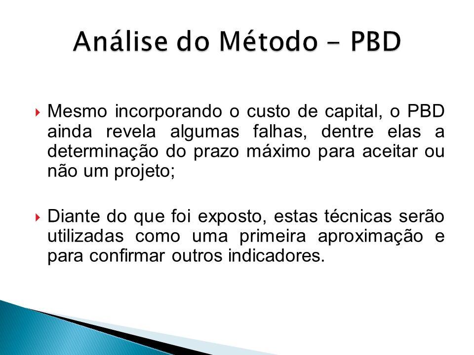 Mesmo incorporando o custo de capital, o PBD ainda revela algumas falhas, dentre elas a determinação do prazo máximo para aceitar ou não um projeto; D