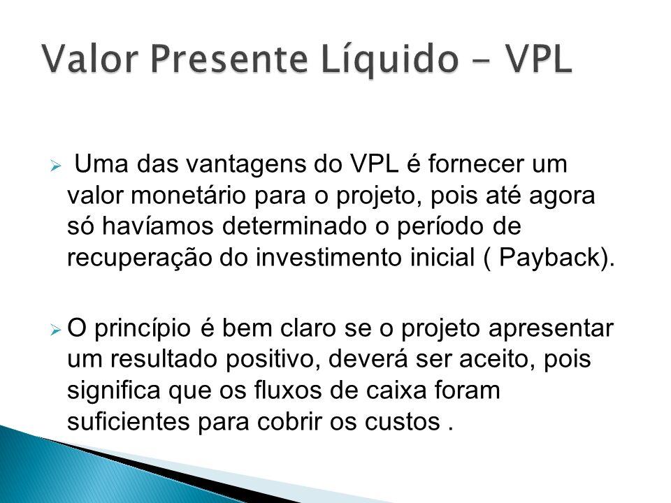 Uma das vantagens do VPL é fornecer um valor monetário para o projeto, pois até agora só havíamos determinado o período de recuperação do investimento