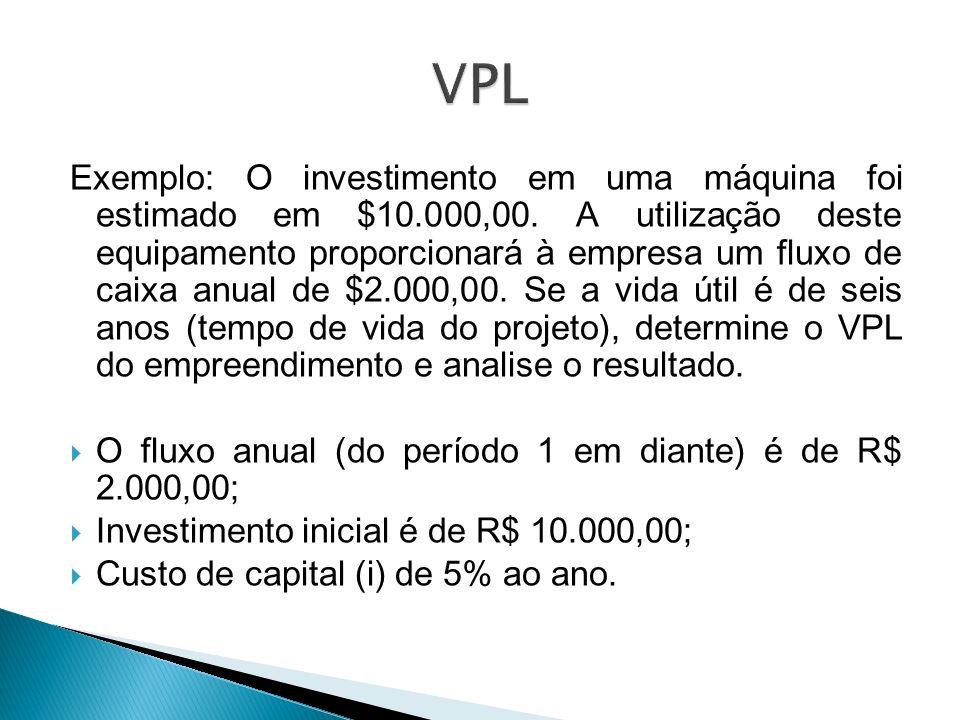 Exemplo: O investimento em uma máquina foi estimado em $10.000,00. A utilização deste equipamento proporcionará à empresa um fluxo de caixa anual de $